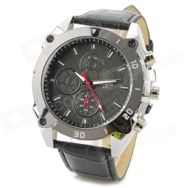 Zhongyi 835 Stylish Quartz Wrist Watch for Men - Black + Silver (1 x 626)