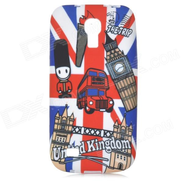 IKKI Stylish Graffiti Pattern TPU Back Case for Samsung Galaxy S4 mini i9190 - White + Blue + Red 8x magnification lens plastic back case for samsung galaxy s4 mini i9190 black silver
