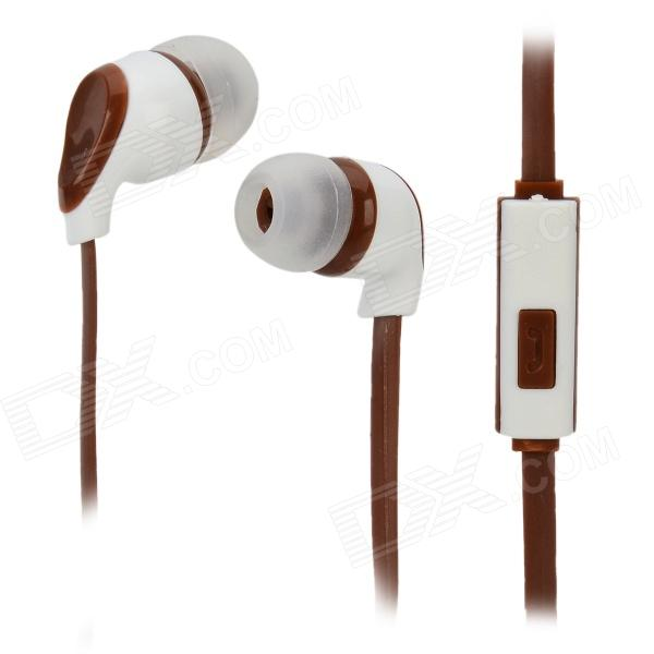 S-What Stylish Universal 3.5mm Jack Wired In-ear Stereo Headset w/ Microphone - White + Coffee gulun gl 777 stylish universal 3 5mm jack wired in ear headset w microphone black brown