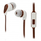 S-What Stylish Universal 3.5mm Jack Wired In-ear Stereo Headset w/ Microphone - White + Coffee