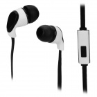 S-What Stylish Universal 3.5mm Jack Wired In-ear Stereo Headset w/ Microphone - Black + White