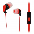 S-What Stylish Universal 3.5mm Jack Wired In-ear Stereo Headset w/ Microphone - Black + Red