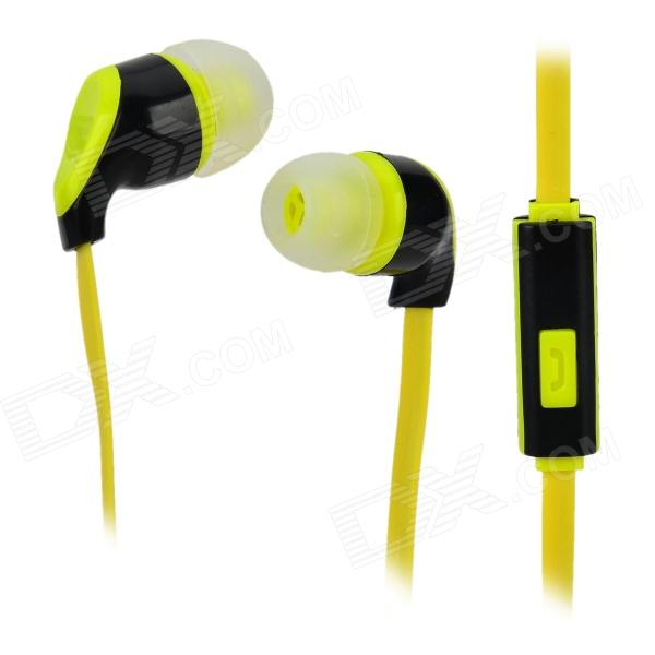 S-What Stylish Universal 3.5mm Jack Wired In-ear Stereo Headset w/ Microphone - Black + Light Yellow gulun gl 777 stylish universal 3 5mm jack wired in ear headset w microphone black brown