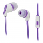 S-What Stylish Universal 3.5mm Jack Wired In-ear Stereo Headset w/ Microphone - White + Purple