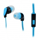 S-What Stylish Universal 3.5mm Jack Wired In-ear Stereo Headset w/ Microphone - Black + Blue
