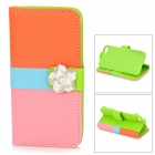 Flip-open Join-color Crystal-inlaid Flower Ornament PU Case w/ Holder + Card Slot for IPHONE 5 / 5S
