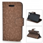 Diamond Pattern Protective PU + Plastic Case w/ Stand for IPHONE 5 / 5S - Brown