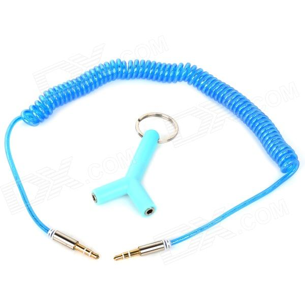 012 3.5mm Male to Male Spring Audio Cable + Male to Female Adapter - Blue (50cm) 1pcs rs232 gender changer db9 9pin female to male vga gender changer adapter male to female wholesale new