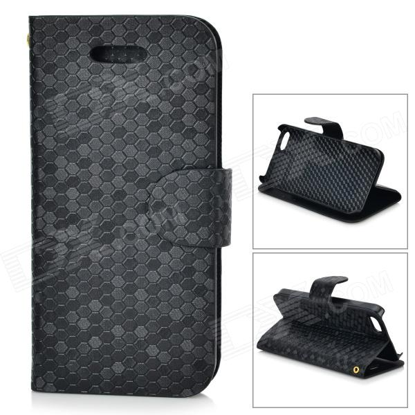 Diamond Pattern Protective PU + Plastic Case w/ Stand for IPHONE 5 / 5S - Black protective pu case w stand strap for iphone 5 5s black