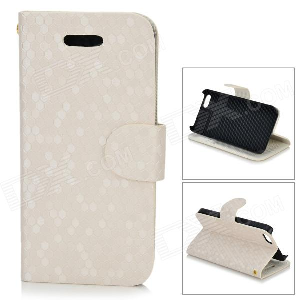 Diamond Pattern Protective PU + Plastic Case w/ Stand for IPHONE 5 / 5S - White protective flip open pu leather case w stand card slots for ipad air black