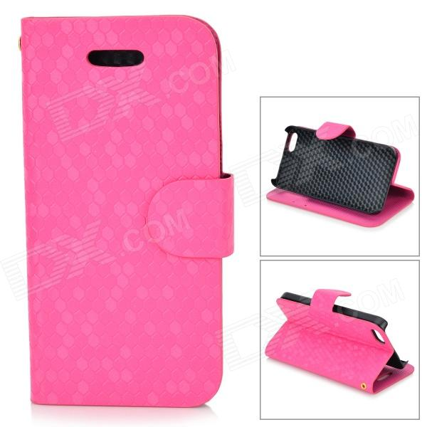 Diamond Pattern Protective PU + Plastic Case w/ Stand for IPHONE 5 / 5S - Deep Pink ipega i5056 waterproof protective case for iphone 5 5s 5c pink