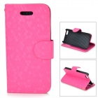 Diamond Pattern Protective PU + Plastic Case w/ Stand for IPHONE 5 / 5S - Deep Pink