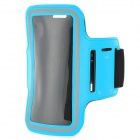 Sports Gym PU Leather Armband Case for HTC One X / M7 / Samsung S5 - Light Blue + Black