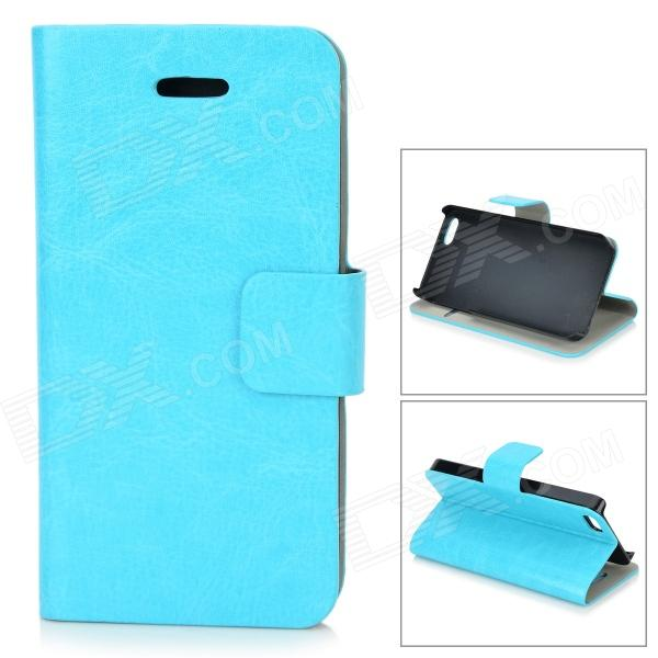 Protective Flip-Open PU Case w/ Stand / Card Slot for IPHONE 5 / 5S - Blue protective flip open pu case w stand card slot for iphone 5 5s pink
