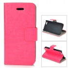 Protective Flip-Open PU Case w/ Stand / Card Slot for IPHONE 5 / 5S - Deep Pink