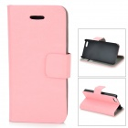 Protective Flip-Open PU Case w/ Stand / Card Slot for IPHONE 5 / 5S - Pink