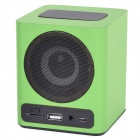 KR-5100 Portable Wooden Touch LED Media Player Speaker w/ TF / USB / FM - Black + Light Green