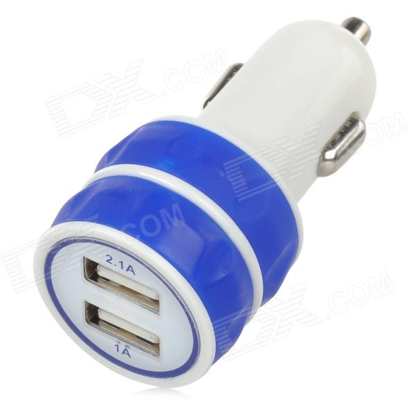 ES-03 Universal 5V 1 / 2.1 A Dual USB Car Charger - White + Blue (DC 12~24V)