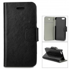 Protective Flip-Open PU Case w/ Stand / Card Slot for IPHONE 5 / 5S - Black
