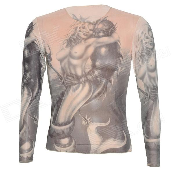JUQI Tattoo Pattern Nylon + Spandex Long-Sleeve T-shirt - Dark Yellow (Free Size)
