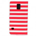 Zebra-Stripe Style Protective PU Leather + PC Case for Samsung Galaxy S5 - Red + White