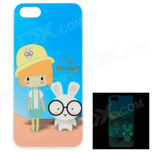 Girl & Rabbit Pattern Glow-in-the-Dark TPU Back Case for IPHONE 5 / 5S - Blue + Yellow girl pattern glow in the dark protective tpu back case for iphone 4 4s white light pink