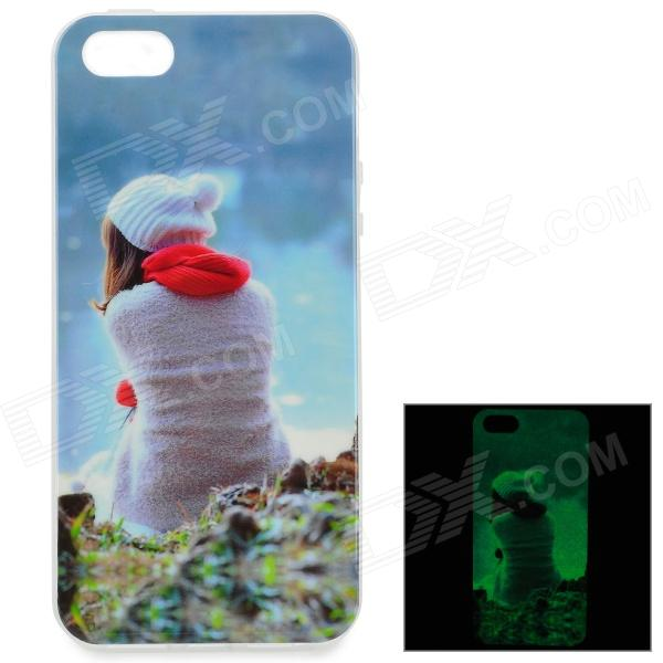 Back of Girl Pattern Glow-in-the-Dark TPU Back Case for IPHONE 5 / 5S - White + Transparent back of girl pattern glow in the dark tpu back case for iphone 5 5s white transparent