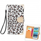 Leopard Print Style Protective Rhinestone PU Leather Case for Samsung i9300 - White + Black + Brown