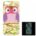 Owl Pattern Glow-in-the-Dark TPU Back Case for IPHONE 5 / 5S - Multicolored