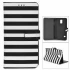 Zebra-Stripe Style Protective PU Leather + PC Case for Samsung Galaxy S5 - Black + White