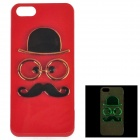 Mustache Pattern Glow-in-the-Dark TPU Back Case for IPHONE 5 / 5S - Red + Black