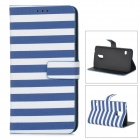 Horizontal Stripes Pattern PU + PC Case w/ Card Slots / Stand for Samsung Galaxy S5 - Blue + White
