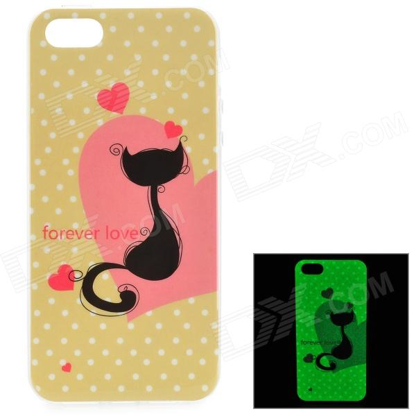 Cat Pattern Glow-in-the-Dark TPU Back Case for IPHONE 5 / 5S - White + Yellow leds c4 tron 05 1549 54 h6