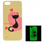 Cat Pattern Glow-in-the-Dark TPU Back Case for IPHONE 5 / 5S - White + Yellow