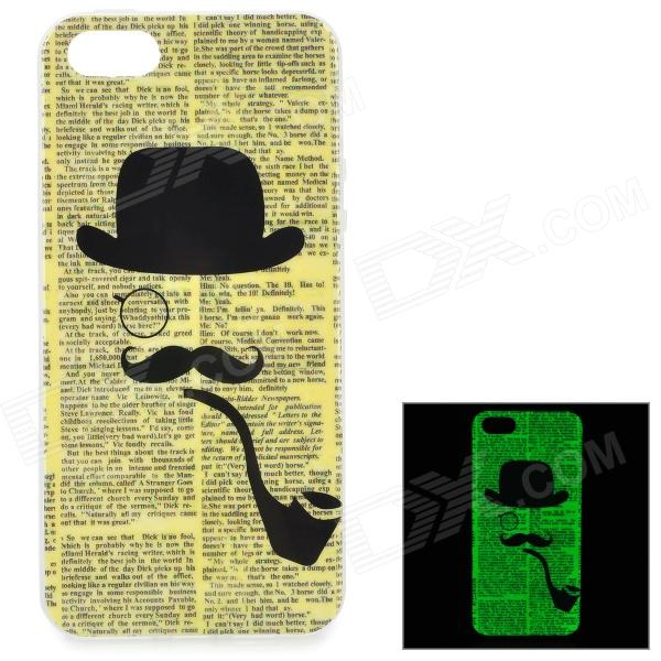 Newspaper Pattern Background Glow-in-the-Dark TPU Back Case for IPHONE 5 / 5S - Yellow girl pattern glow in the dark protective tpu back case for iphone 4 4s white light pink