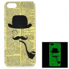 Newspaper Pattern Background Glow-in-the-Dark TPU Back Case for IPHONE 5 / 5S - Yellow