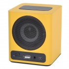 KR-5100 Portable Wooden Touch LED Media Player Speaker w/ TF / USB / FM - Black + Yellow