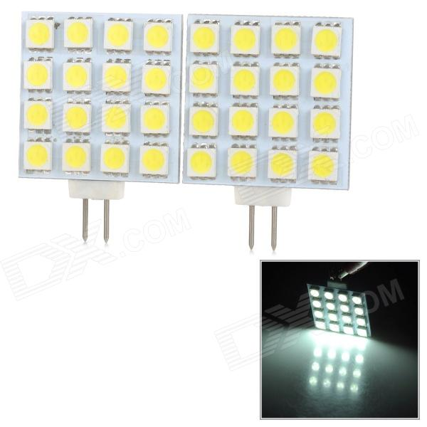 JRLED G4 160lm 6500K 16-SMD 5050 LED White Car Reading Lamps (DC 12V / 2 PCS) jrled g4 3w 300lm 9 x smd 5630 led white light car reading lamp ac dc 12v