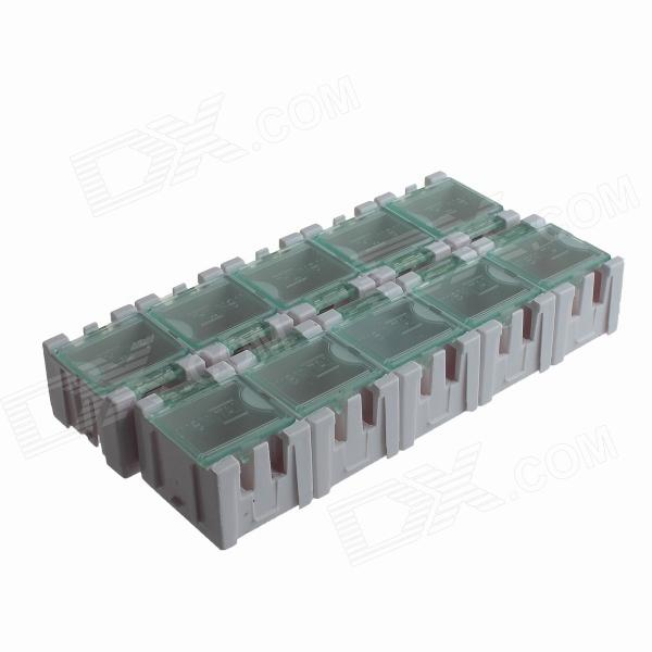 10-in-1 SMT Electronic Component Storage Box - White + Transparent (30 x 23 x 20mm)