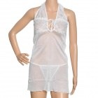 ManYi 6052 Sexy Lace Halter Nightgown w/ Thong - White (Free Size)
