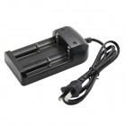 PD-05 3.7V Universal 2-Slot Battery Charger for 18650 / 14500 / 17500 / 10440 + More - Black