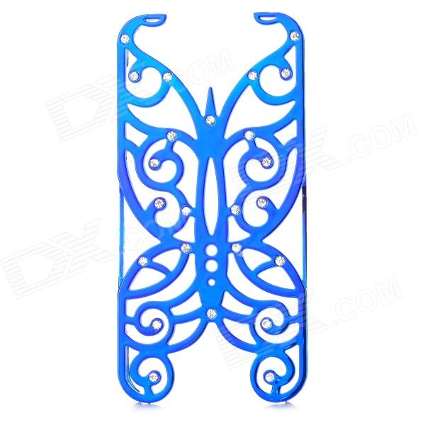 Hollowed Butterfly Style ABS Back Case for IPHONE 5 / 5S - Deep Blue + Silver embossed tpu back case for iphone se 5s 5 blue butterfly