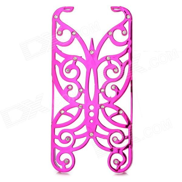 Hollowed Butterfly Style ABS Back Case for IPHONE 5 / 5S - Deep Pink + Silver cartoon pattern matte protective abs back case for iphone 4 4s deep pink