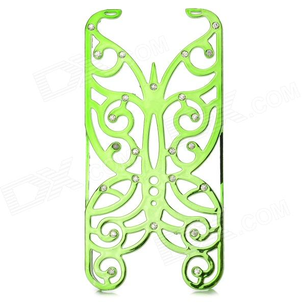 Hollowed Butterfly Style ABS Back Case for IPHONE 5 / 5S - Green + Silver butterfly bling diamond case