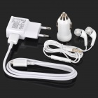 USB EU Plug Power Adapter + USB Data Cable + Car Charger + Earphones for Samsung Galaxy S3 / S4