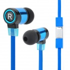 Universal In-Ear Earphone w/ Flat Cable for IPHONE / Samsung / HTC / Tablet PC - Blue (3.5MM Plug)