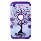 Love Heart Tree Style Protective Silicone Case for IPOD TOUCH 4 - White + Purple