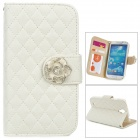 Retro Checked Style Protective PU Leather + Plastic Case for Samsung Galaxy S4 i9500 - White