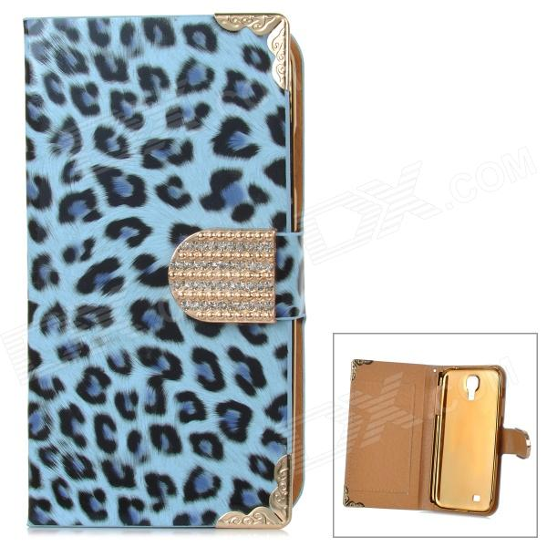 Leopard Pattern PU Flip-Open Case w/ Card Slots for Samsung i9500 - Blue + Black stylish flip open pu tpu case w card slots for nokia 625 blue
