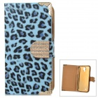 Leopard Pattern PU Flip-Open Case w/ Card Slots for Samsung i9500 - Blue + Black